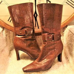 GIANNI BINI Boots Croc Leather heel womens 8.5 m